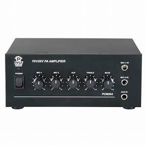 Pyle Pcm20a 20 Watt Mixer 25  U0026 70 Volt Output