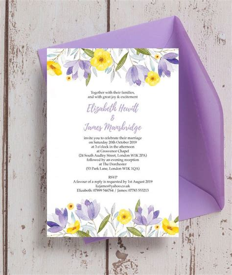 lilac lemon wedding invitation   invitations