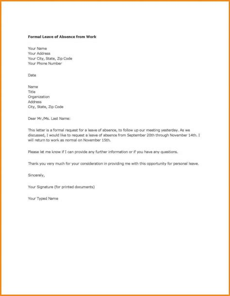 letter format for leave request fresh request letter for