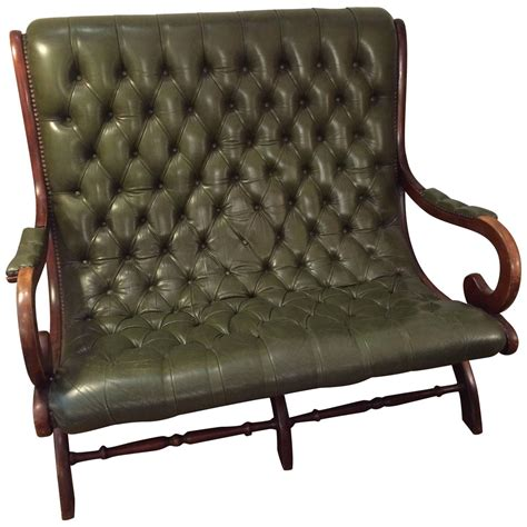 antique leather loveseat antique green leather library loveseat chairish