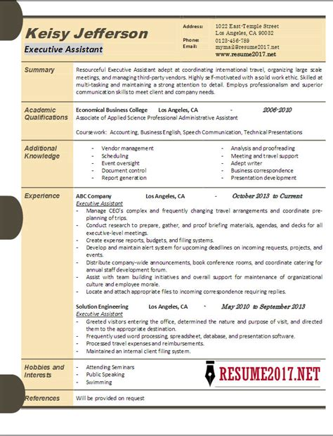 Executive Resume Exles 2017 by Executive Assistant Resume Sles 2017
