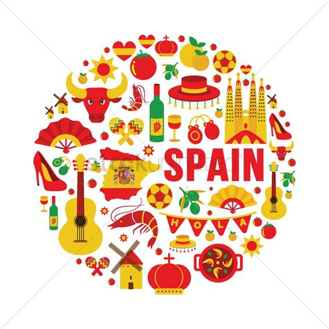 Collection of spain icons Vector Image - 1565071 ...