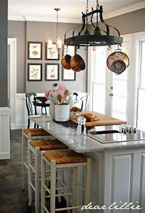 wall color benjamin moore39s chelsea gray trim color With kitchen colors with white cabinets with hang wall art