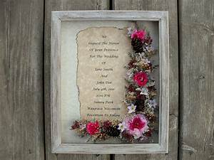 items similar to custom wedding invitation shadow box With framed wedding invitation dried flowers