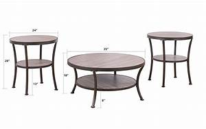 3 piece modern round coffee table and 2 end tables living With 3 piece round coffee table set