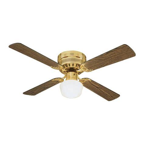 42 flush mount ceiling fan shop design house homestead 42 in polished brass flush