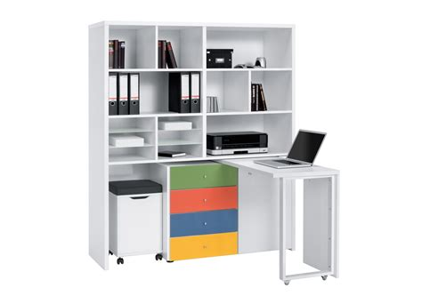 bureau avec rangement bureau modulable contemporain avec rangement coloris blanc