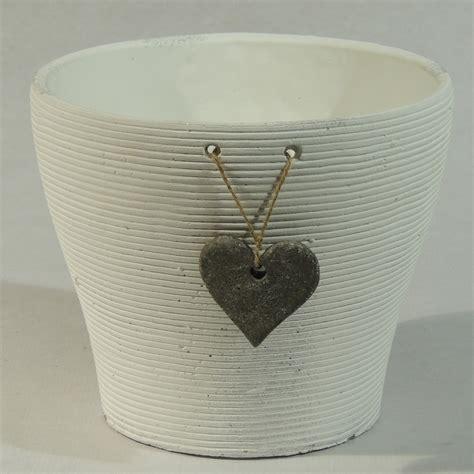 blanc en pot cache pot blanc motif coeur florimat