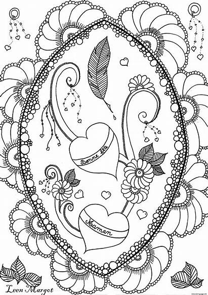 Coloring Mothers Pages Adult Adults Flowers Leen