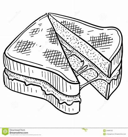 Sandwich Cheese Grilled Sketch Gooey Doodle Pique