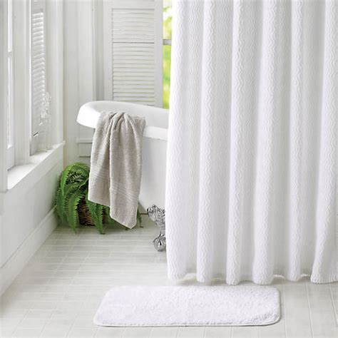 Chenille Shower Curtain With Rug  White  Color Out Of