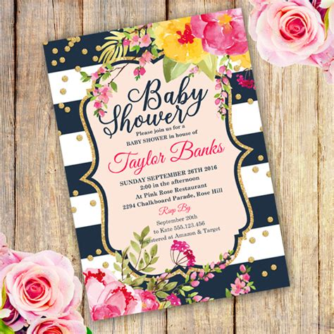 Watercolor Floral Baby Shower Invitation Template Edit