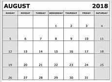 August 2018 printable calendar template Free Printable