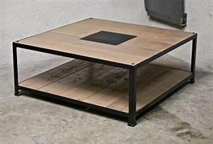 Table Basse Bois Acier : table basse acier bois 1m x 1m ~ Teatrodelosmanantiales.com Idées de Décoration