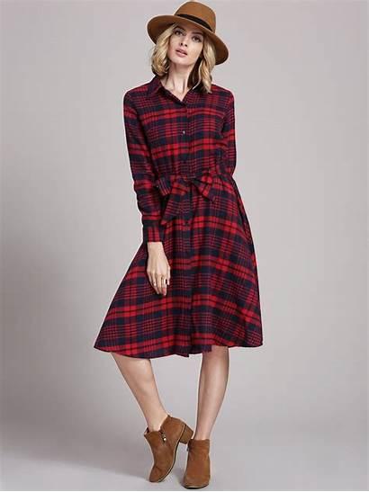 Plaid Sleeve Dresses Clothing Lapel Romwe Informal