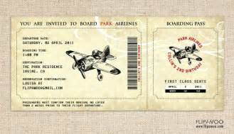 vintage airplane birthday invitation airplane boarding pass