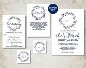 wedding invitation template navy classic wreath wedding With wedding invitation text classic