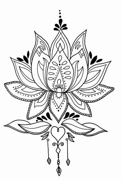 Mandala Flower Lotus Drawing Tattoo Coloring Drawings