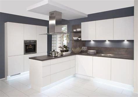 white gloss kitchen  grey worktops google search