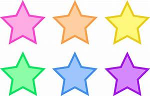 Set of Six Pastel Stars - Free Clip Art