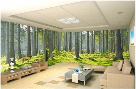 room wallpaper custom mural fresh green forest nature