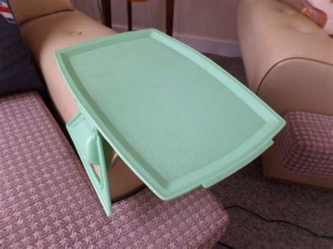 Vintage-green-melamine-clip-on-arm-chair-tray-car-caravan