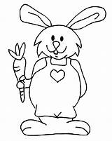 Rabbit Coloring Bunny Pages Carrot Holding Simple Jumpsuit Bunnies Easter Printable Eating Children Clipart Popular Clipartmag Drawing Library Getcolorings sketch template