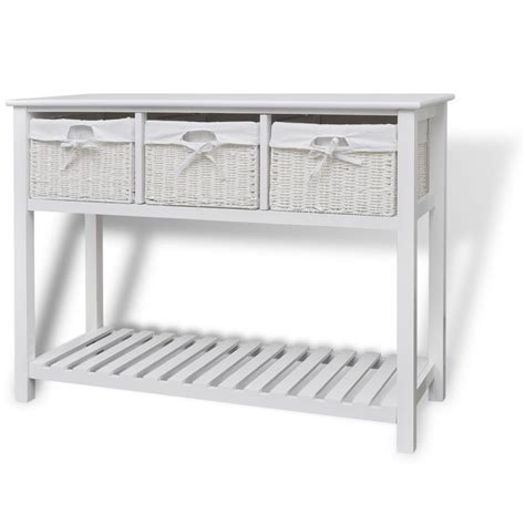 white sofa table with baskets white storage sideboard console table kitchen buffet