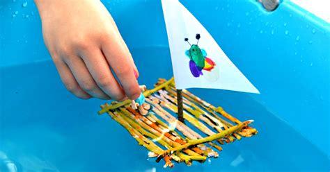 painted twig raft boat frogs  fairies