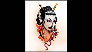 How To Draw A Geisha Face By Thebrokepuppet Youtube