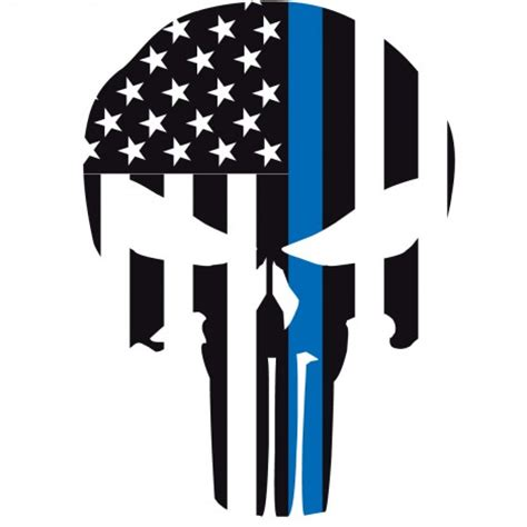 Punisher Thin Blue Line with Skull