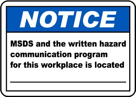 Msds For Workplace Is Located Sign H1654