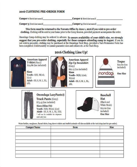 clothing order forms  samples examples format