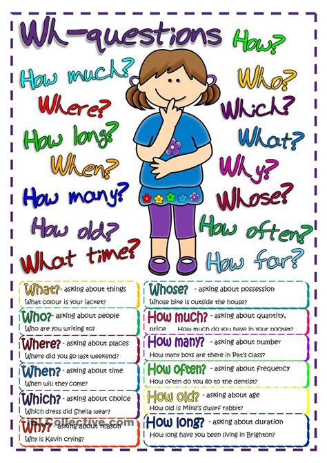 Questions  Poster  Free Esl Worksheets #teaching