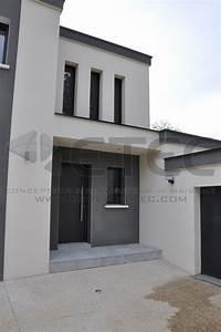 maison toit terrasse a fauverney etec With plan de maison moderne 4 maison contemporaine rouvre etec