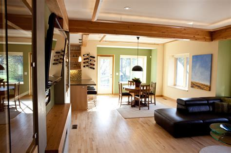 living room  reclaimed wood beams contemporary