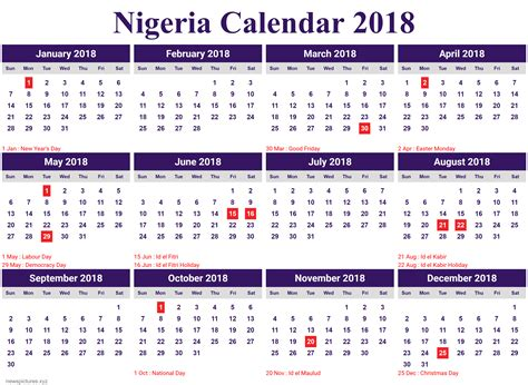 monthly calendar 2018 nigeria - newspictures.xyz