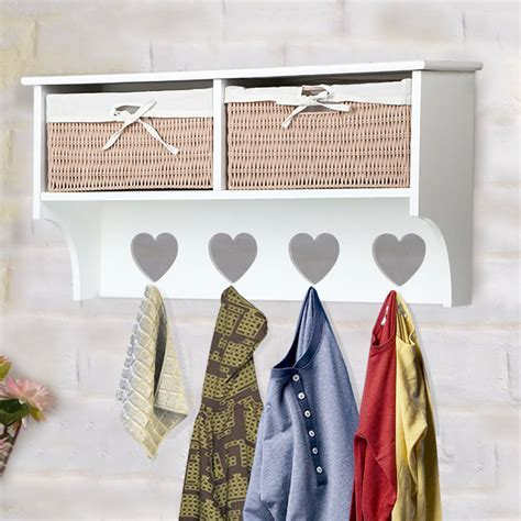 4 Hook Porch Hallway Tidy Wall Coat Rack Hanger Hall