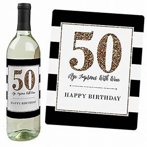 chic 50th birthday pink black and gold wine bottle With kitchen cabinets lowes with 50th birthday stickers