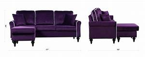 Traditional small space velvet sectional sofa with for Small sectional sofas with chaise lounge