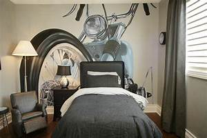 Teen bedroom wall decor motorbike themed gray design artenzo