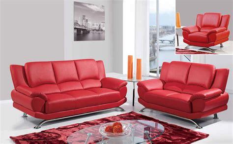 Modern Leather Sofa Set Red U9908-r Sofa Loveseat Chair 3pc