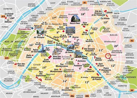 map  paris attractions   paris france