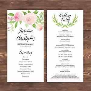 printable wedding program template floral ceremony progr With passport wedding program template