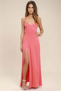 sexy coral pink dress maxi dress strappy dress 5800 With robe longue peche