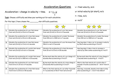 differentiated worksheet on calculating acceleration velocity and time by swilliams1957