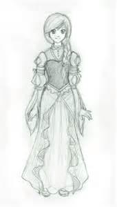 Anime Girl in Dress Sketch Drawings