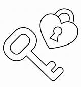Key Heart Coloring Pages Keyboard Piano Lock Outline Template Drawing Getcolorings Colouring Printable Templates Ke Getdrawings sketch template