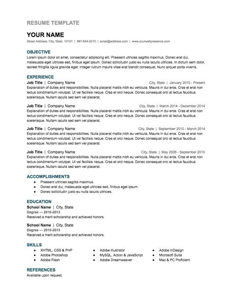 resume templates 60 images resume templates