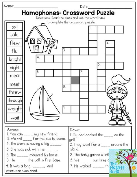 homophones crossword puzzle read the clues and use the